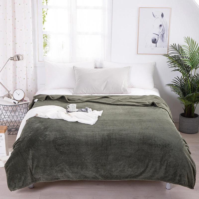 Patură flanel Heinner Home, 200 x 220 cm, Model Ananas, Verde