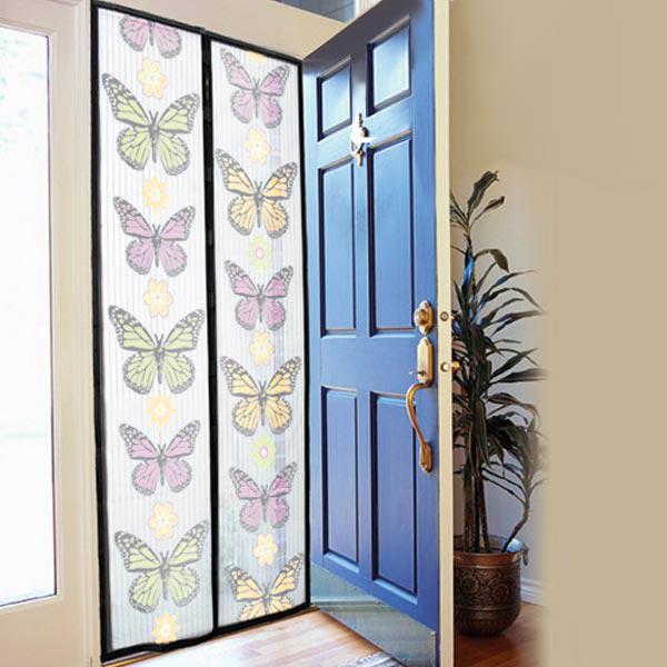 Perdea Magnetică Anti Insecte pentru Uşă Insect Stop, 210 x 100 cm, Plasă, Model Colorat cu Fluturi