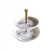 Platou pentru Servire din Fibre de Bambus Grunberg, 20 şi 25 cm, Etajeră 2 Nivele, Biodegradabil, Diverse Culori