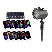 Proiector cu Forme 4Seasons Laser Light, 12 Diapozitive, 4 Culori, Crăciun / An Nou / Halloween / Valentine, IP65