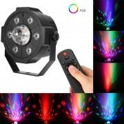 Proiector Jocuri Lumini Disco cu Telecomandă, Muzică USB și Bluetooth, 6+1 LED RGB, Sistem Fixare, Negru