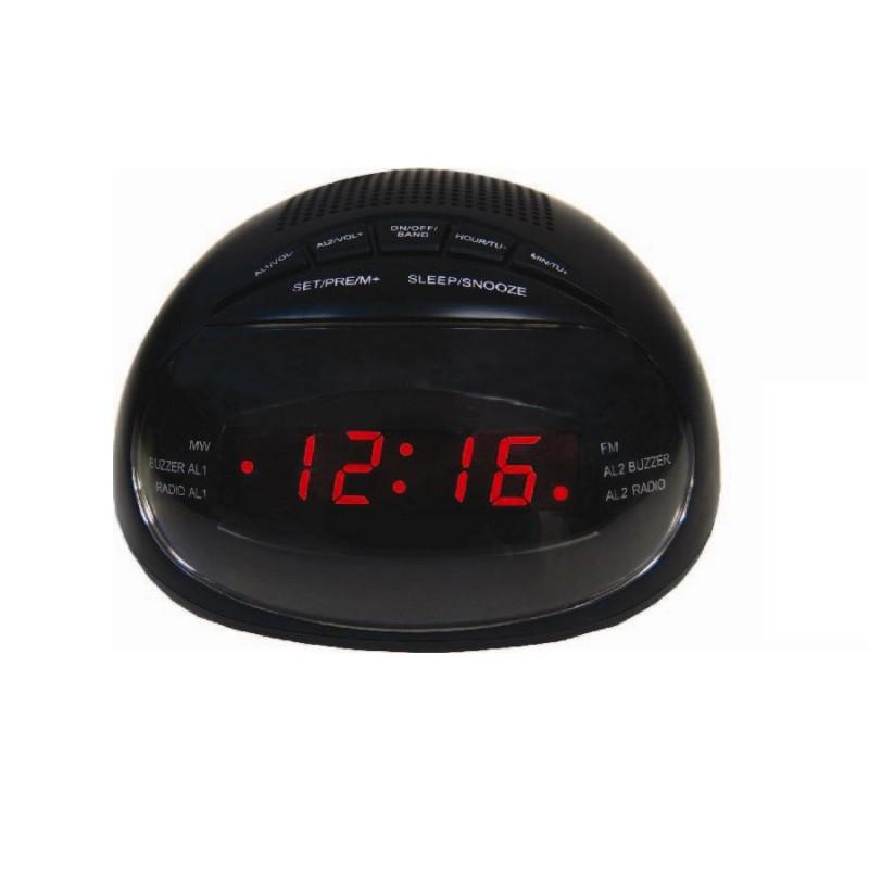 Radio cu Ceas Digital Happy Sheep, 220 V, LED, FM Radio, 24 ore, Alarmă, Snooze, Negru