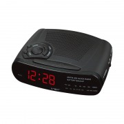 Radio cu Ceas Digital VST, 220 V, LED, AM/FM Radio, 24 ore, Alarmă, Snooze, Sleep Timer, Buzzer, Negru
