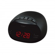 Radio cu Ceas Digital VST, LED, AM/FM Radio, 24 ore, Alarmă, Snooze, Sleep Timer, Negru
