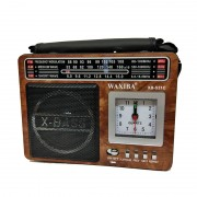 Radio Portabil cu MP3 Player, Ceas și Lanternă Waxiba 531C, Bandă AM/FM/SW, Antenă Telescopică, Maro