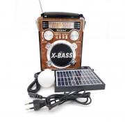 Radio Portabil cu MP3 Player și Lanternă Waxiba 2054U-S-L, Panou Solar, Bec LED, Bandă AM/FM/SW, Antenă Telescopică