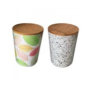 Recipient pentru Depozitare din Fibre de Bambus cu Capac Grunberg, 2 piese, Biodegradabil, Diverse Culori