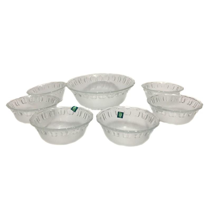 Set 1 + 6 Boluri din Sticlă Servire pentru Fructe şi Salată Grunberg, Bol Mare şi 6 Mici, Diverse Modele