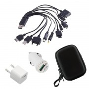 Set 2 Încărcătoare și 10 Cabluri Universale pentru Telefoane, Adaptor Priză și Brichetă Auto, Husă inclusă