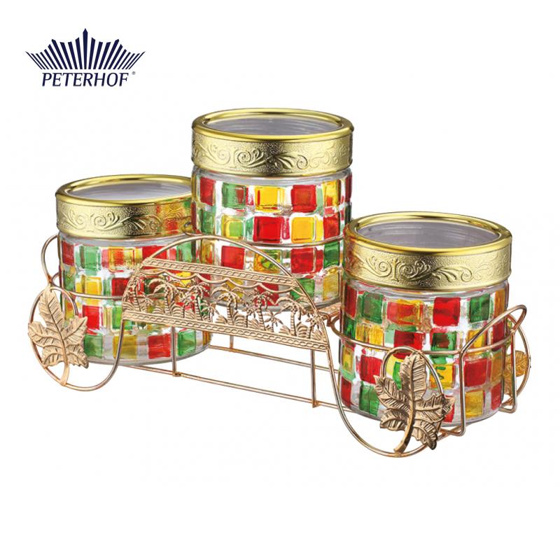 Set 3 Borcane din Sticlă cu Capac Peterhof, 850 ml, 4 piese, Suport inclus