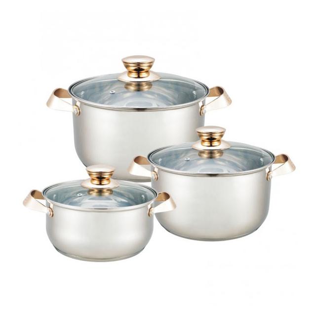 Set 3 Oale din Inox cu Capac din Sticlă Grunberg, 4.5, 5.5 şi 6.3 Litri, 6 piese, Inducţie