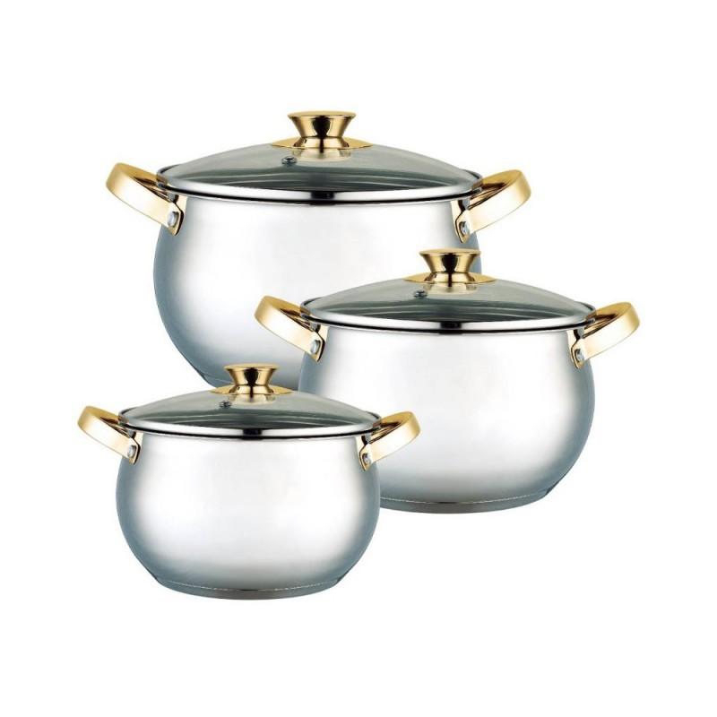 Set 3 Oale din Inox cu Capac din Sticlă Grunberg, 4, 5.5 şi 7 Litri, 6 piese, Baza încapsulată, Inducţie