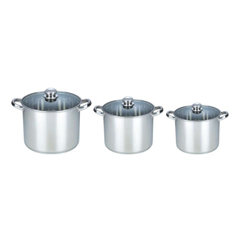 Set 3 Oale din Inox cu Capac din Sticlă Grunberg, 7.2, 9 şi 11 Litri, 6 piese, Baza încapsulată
