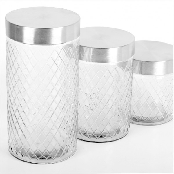 Set 3 Recipiente de Sticlă cu Capac DeKassa, 6 piese