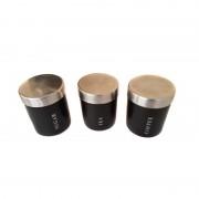 Set 3 Recipiente din Metal pentru Condimente Zelmond, 650 ml, 6 piese, Inox