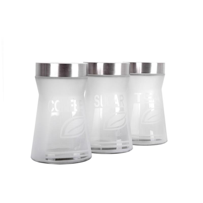 Set 3 Recipiente din Sticlă pentru Condimente DeKassa, 1.27 Litri, 3 piese