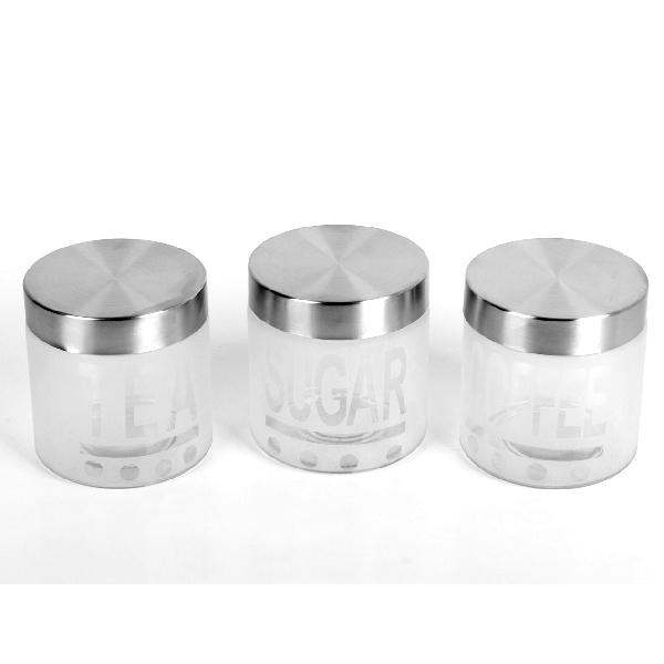 Set 3 Recipiente din Sticlă pentru Condimente DeKassa, 1 Litru, 3 piese