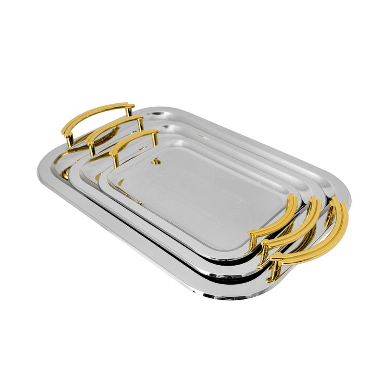 Set 3 Tăvi Servire din Inox Grunberg, 3 piese, Diverse Modele, Argintiu cu Auriu, Cromate