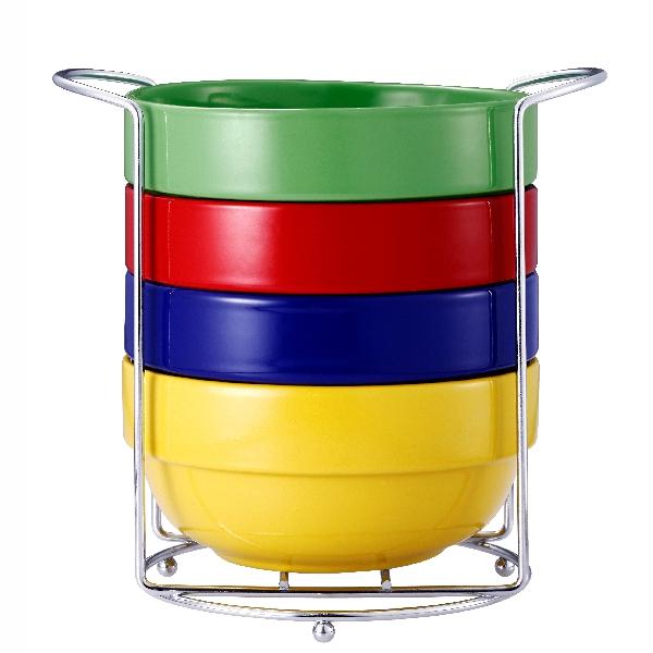 Set 4 Boluri din Ceramică Vabene, 500 ml, 5 Piese, Suport Inox inclus