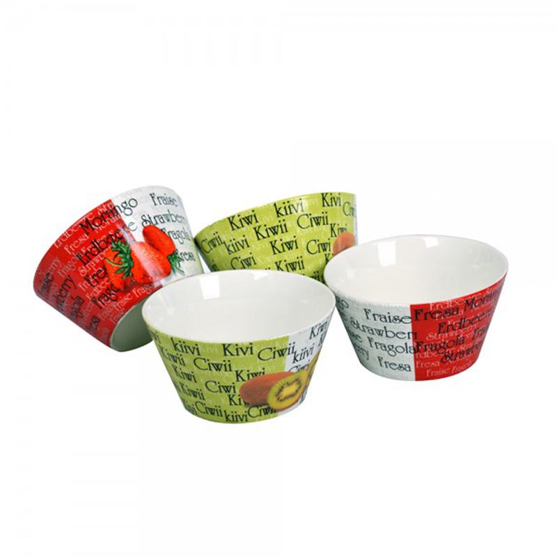 Set 4 Boluri din Porțelan Vabene, 500 ml, 4 Piese, Multicolor
