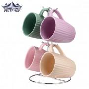 Set 4 Căni Pastel din Ceramică Peterhof, 5 Piese, Suport Inox inclus