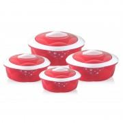 Set 4 Caserole Termos din Inox și Plastic cu Capac Grunberg, 600, 1200, 2200 și 3200 ml, 8 Piese, Termoizolant