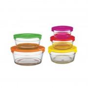 Set 5 Boluri de Sticlă cu Capac de Plastic Desio Peterhof, 10 piese, Capace Colorate