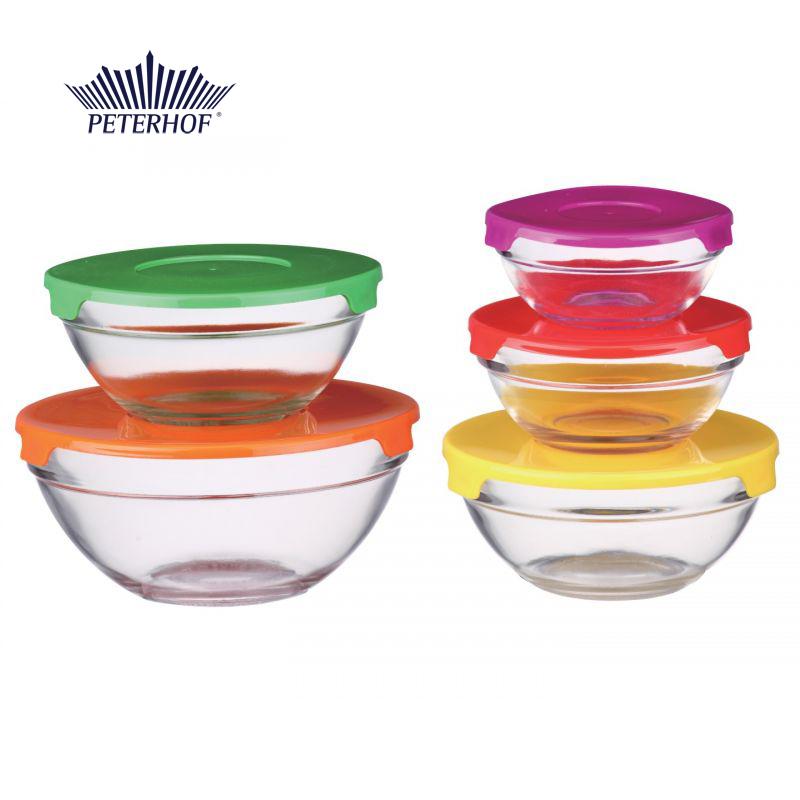 Set 5 Boluri de Sticlă cu Capac Desio Peterhof, 10 piese, Capace Colorate