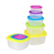 Set 5 Caserole de Plastic cu Capac Grunberg, 10 piese, Capace Colorate, Diferite Mărimi