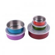 Set 5 Caserole din Inox cu Capac de Plastic DeKassa, 10 piese, Multicolor
