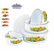 Set 5 Caserole Email cu Capac de Plastic Peterhof, 10 piese, Diverse Modele