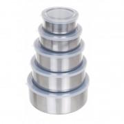 Set 5 Caserole din Inox cu Capac de Plastic Grunberg, 10 piese, Argintiu