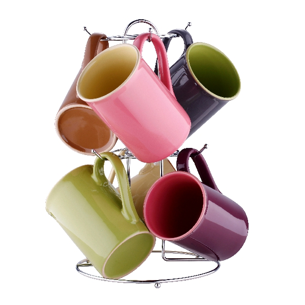 Set 6 Căni Ceramică Bergner, 7 Piese, Suport Inox inclus