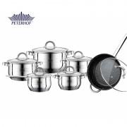 Set 6 Oale şi Cratiţe din Inox cu Capac din Sticlă Fargo Peterhof, 12 piese, Bază Triplustratificată, Inducţie
