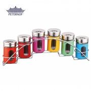 Set 6 Recipiente din Sticlă pentru Condimente cu Suport Camile Peterhof, 7 piese, Inox, Multicolor
