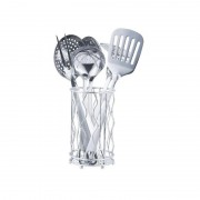 Set 6 Ustensile din Inox pentru Gătit Grunberg, 7 piese, Suport inclus