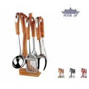 Set 6 Ustensile din Inox pentru Gătit Peterhof, 7 piese, Suport inclus