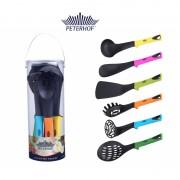 Set 6 Ustensile pentru Gătit Peterhof, 6 piese, Plastic şi Silicon, Mânere Multicolore