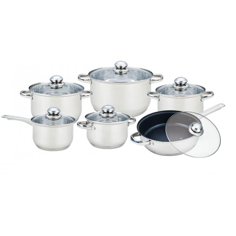 Set 6 Vase de Gătit din Inox cu Capac din Sticlă Grunberg, 12 piese, Bază Stratificat, Inducţie