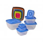 Set 7 Caserole de Plastic cu Capac Grunberg, 14 piese, Capace Colorate, Diferite Mărimi