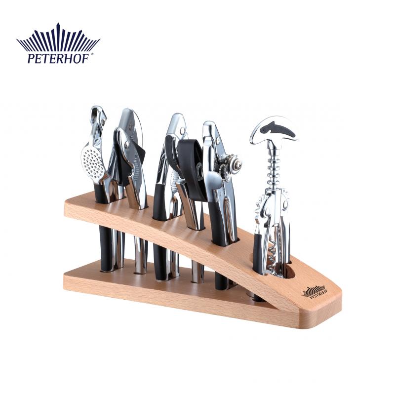 Set 7 Ustensile pentru Bucătărie cu Suport de Lemn Peterhof, 8 piese, Inox