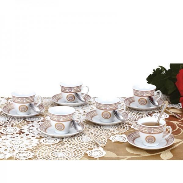 Set Cafea pentru 6 persoane Zillinger, 90 ml, 18 piese, Ceramică, Inox
