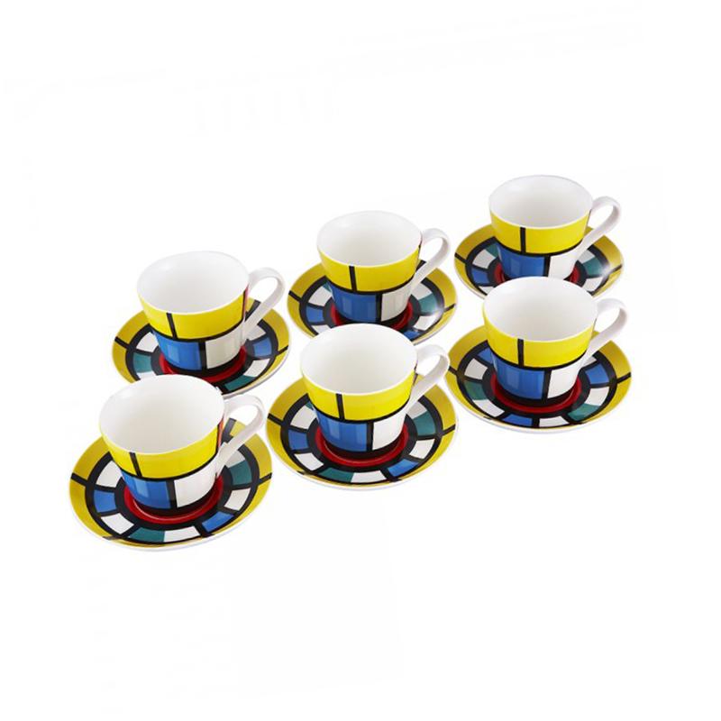 Set Ceşti pentru Ceai din Porțelan Wellberg, 6 Persoane, 12 piese, 220 ml, Colorate