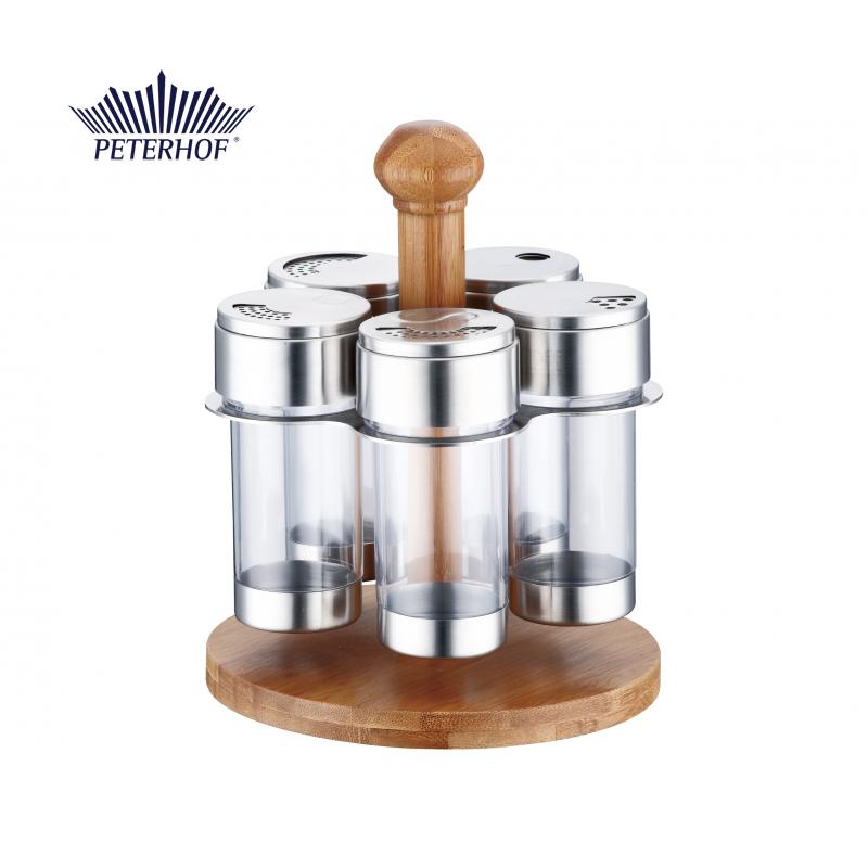 Set Condimente cu Suport din Bambus Pineta Peterhof, 5 Recipiente, 6 piese, Inox şi Sticlă