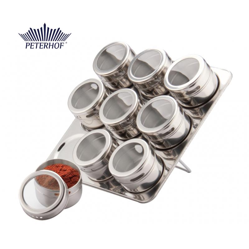 Set Condimente cu Suport Magnetic Claudio Peterhof, 9 Recipiente, 10 piese, Sticlă, Inox