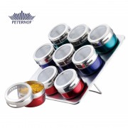 Set Condimente cu Suport Magnetic Claudio Peterhof, 9 Recipiente Multicolor, 10 piese, Sticlă, Inox
