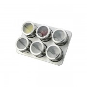 Set Condimente cu Suport Magnetic Grunberg, 6 Recipiente, 7 piese, Inox