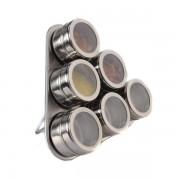 Set Condimente cu Suport Magnetic Grunberg, 6 Recipiente, 7 piese, Inox, Model Triunghi