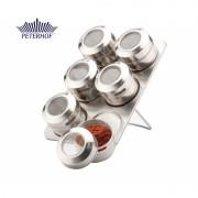 Set Condimente cu Suport Magnetic Slim Peterhof, 6 Recipiente, 7 piese, Sticlă, Inox