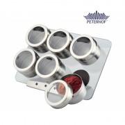 Set Condimente cu Suport Magnetic Peterhof, 6 Recipiente, 7 piese, Sticlă, Inox